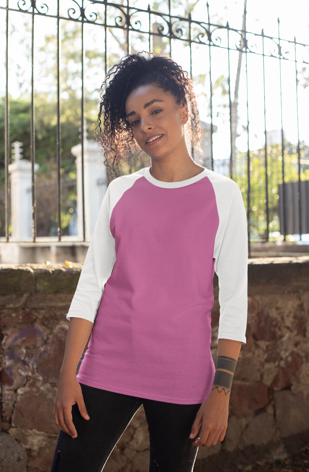 mockup-of-a-curly-haired-woman-wearing-a-raglan-three-quarters-sleeve-tee-30236