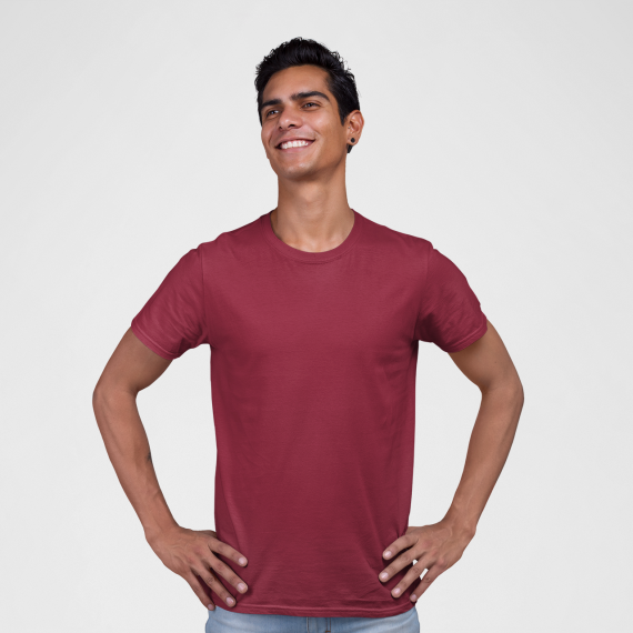 PNC garments round neck t-shirt maroon wholesale t-shirt suppliers in mumbai