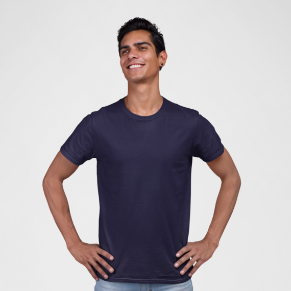 PNC garments round neck t-shirt navy blue wholesale t-shirt suppliers in mumbai